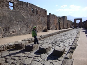Pedestrian crossing on a busy street of Pompei