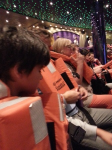 Learning to tie the life jackets