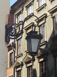 A street lamp on the old town square
