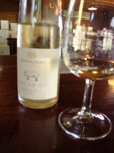 Tasting white wine at pepper tree