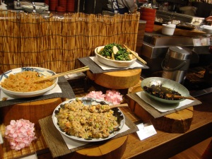 Our typical dinner in Japan, open buffet