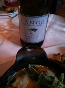 Wine of the day is a Pinor Noir of Lange